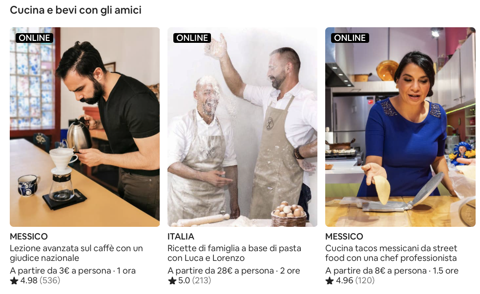 screenshot sito Airbnb, esperienze online